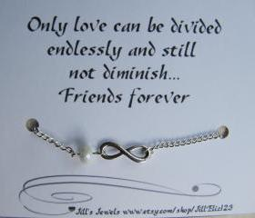 Frienship Infinity Charm Bracelet a Crystal and Friendship Quote Inspirational Card- Bridesmaids Gift - Friends Forever - Quote Gift